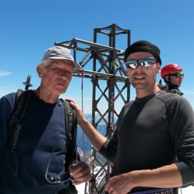 otec a syn na vrcholu Marmolady